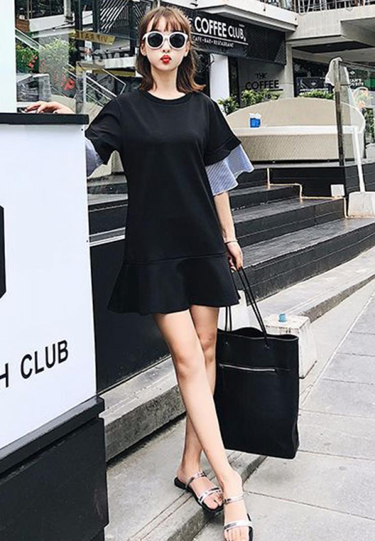 Black Sleeves Dress 2018 CA031923 Flare Black Piece New Sunnydaysweety One atwOq5w