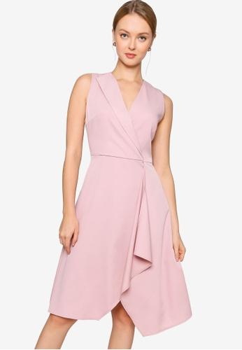 ZALORA WORK pink Asymmetric Ruffle Dress 3EC0BAA31041CAGS_1