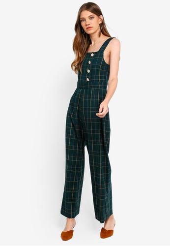 Miss Selfridge green Green Check Button Jumpsuit 108EEAA5193500GS_1