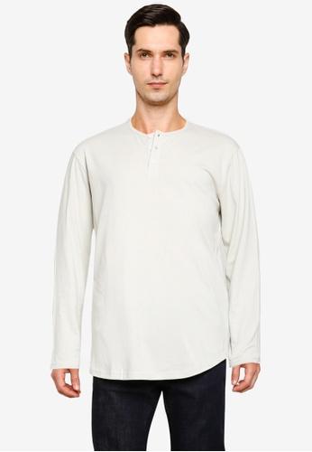 Cotton On 白色 Longline Scoop Henley Long Sleeve T-Shirt 934D5AA70B588AGS_1