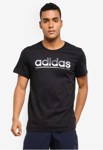adidas black adidas fading linear tee AD372AA0SUWQMY_1