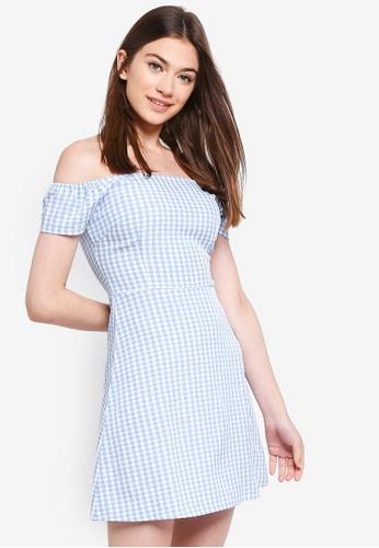 Something Borrowed blue Off Shoulder Flare Dress C4F8FAA4D20822GS_1