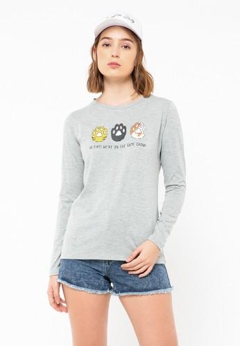 COLORBOX grey Hi Five Long Sleeve T-Shirt A6126AA94E311DGS_1