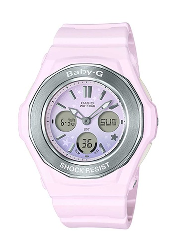 CASIO pink Casio Baby-G Silver and Pastel Pink Resin Watch BFB5FACDA18FBAGS_1