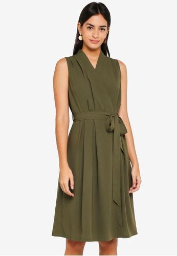 ZALORA green Wrap Midi Dress 48AF0AA99DD4F7GS_1