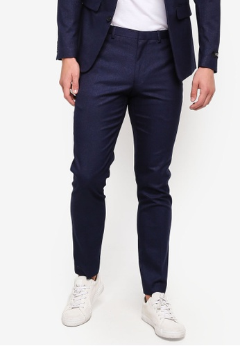 6a4ead647664b Burton Menswear London blue Navy Marl Skinny Fit Suit Trousers  518B9AA62084B2GS 1