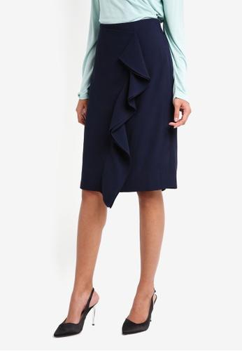 J.Crew navy Carly Ruffle Pencil Skirt Lucky Crepe 55BD7AADB8278DGS_1