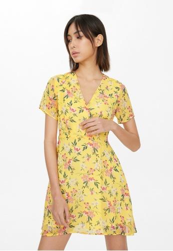 Pomelo yellow Semi Sheer Surplice Floral Dress - Yellow 75E0DAADF14645GS_1