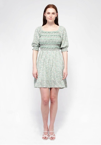 NE Double S green NE Double S-Square Neckline Puff Sleeve Floral Printed Dress EB471AA9C28354GS_1