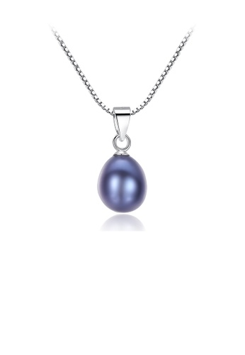 Glamorousky black 925 Sterling Silver Fashion and Elegant Water Drop-shaped Black Freshwater Pearl Pendant with Necklace E0424AC1A4B24FGS_1