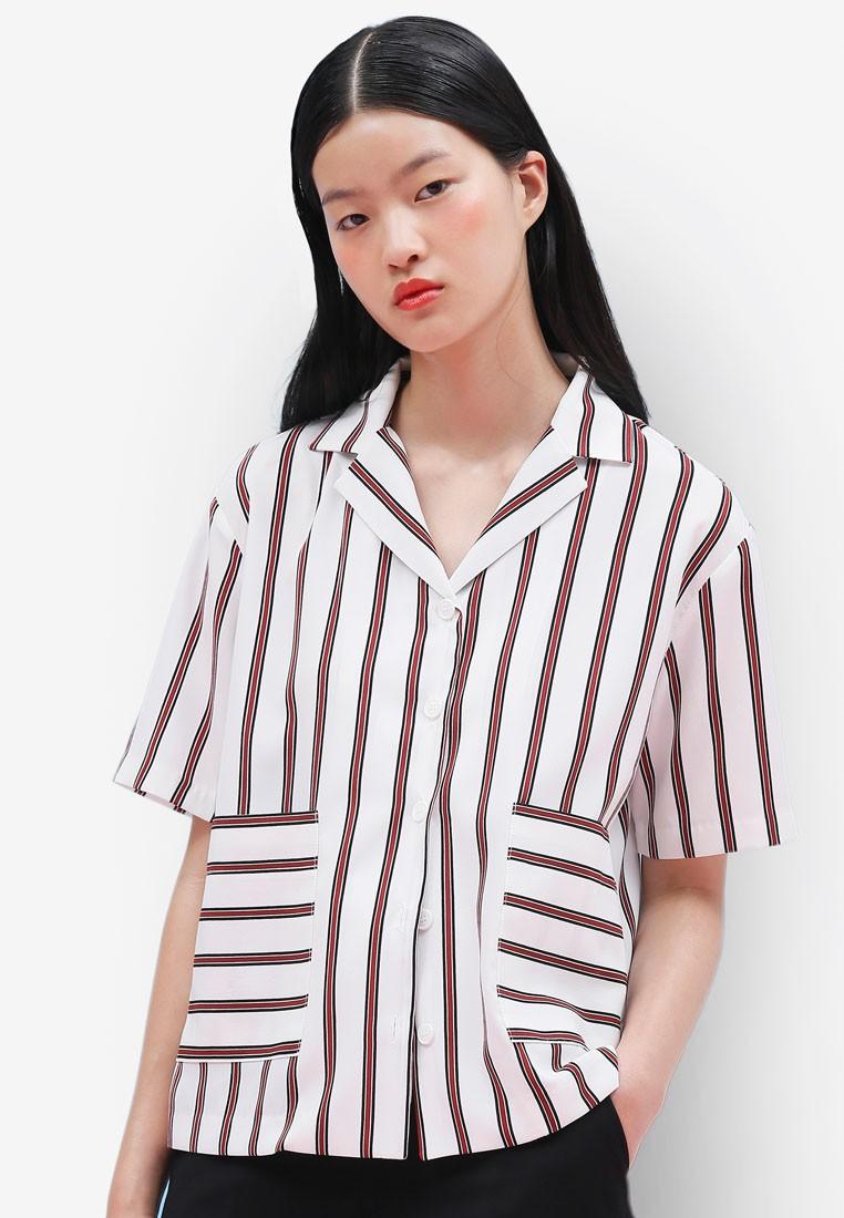 Korean Style Color Stripe Blouse