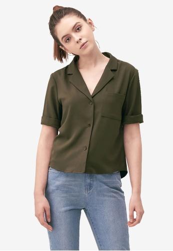 Kodz green Crop Pocket Shirt F9ACFAAAFCB728GS_1