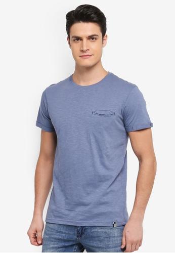 Indicode Jeans 藍色 短袖口袋造型T恤 41B29AA6262492GS_1