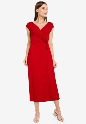 ZALORA WORK red Sleeveless Wrap Dress 8ED78AA3E9E5A9GS_1