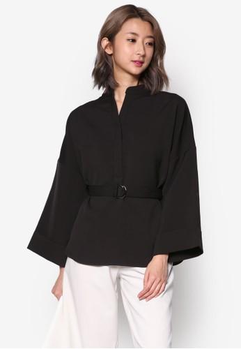 立領寬袖腰帶長袖T-shirt、 服飾、 上衣KLEEaisons立領寬袖腰帶長袖上衣最新折價