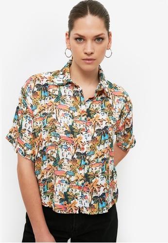 Trendyol multi Short Sleeve Printed Boyfriend Shirt 0D88EAAE0FF813GS_1