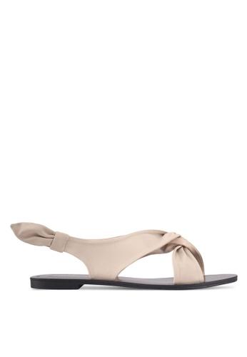 ZALORA beige Side Knot Detail Sandals C3B7CSH74571B9GS_1