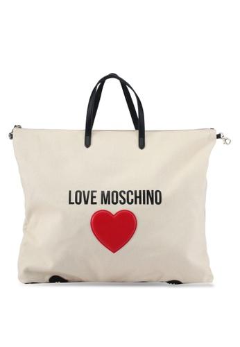 Love Moschino white Borsa Canvas Tote Bag LO478AC0SEK7MY_1