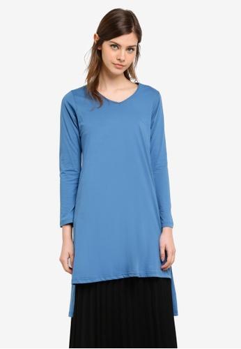 Aqeela Muslimah Wear blue Side Slit Fishtail Top AQ371AA0S4WFMY_1