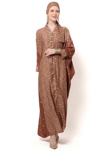 Kanzi by liza yahya green and brown Kanzi Tapis Long Sleeve Brown Green A2C49AA36105B4GS_1