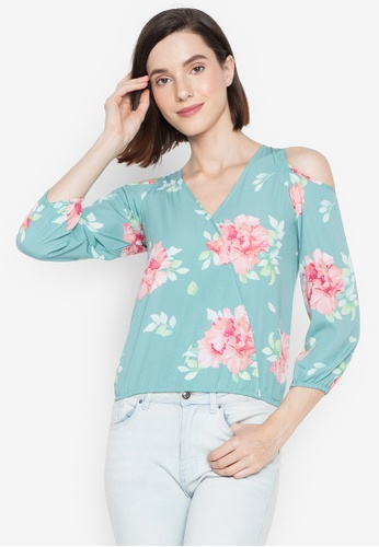 BNY green Ladies Floral Cold Shoulder Three Fourth Sleeves Top 53362AAFA4AEEFGS_1