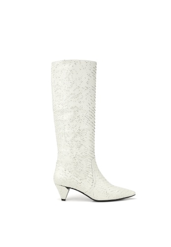 52a541bffc5 RABEANCO white RABEANCO SONJA Knee Boots - Embossed White D10FCSHBFF46D2GS 1