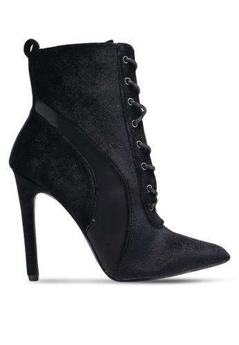 Something Borrowed black Velvet Bootie Heels 8580AZZF0D8667GS_1