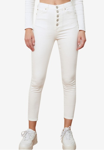 Trendyol white Button Front High Waist Skinny Jeans 1EA63AACEC2106GS_1