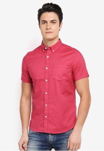 Burton Menswear London pink Short Sleeve Oxford Shirt 538A5AA63793BDGS_1