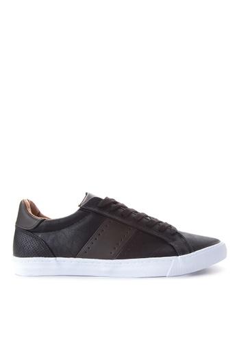 Topman black Faux Leather Trainers TO100SH85JZIPH_1