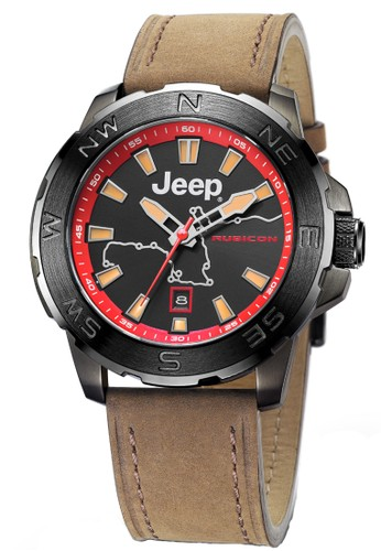 Jeep Wrangler Series Automatic Men's Watches JPW63202 Rubicon Multifunction Watch Brown red black Leather strap