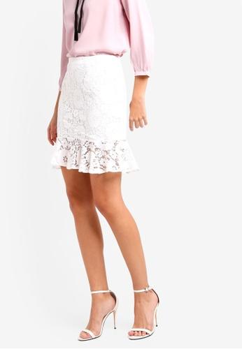 ZALORA white Ruffles Hem Lace Skirt F74D6AA2379027GS_1