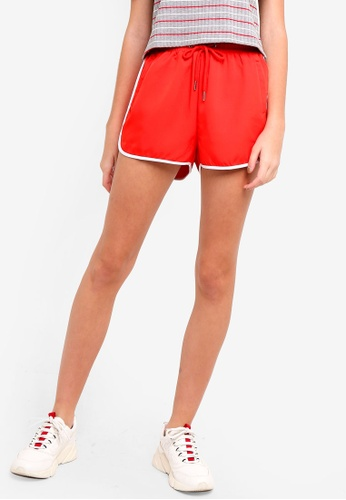 Something Borrowed red Track Shorts With Trimming Detail AB8DDAA38F4E7CGS_1