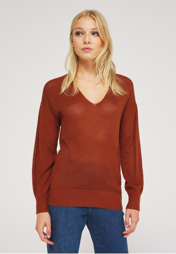 Sisley red V-neck sweater 25D27AA0BF4037GS_1