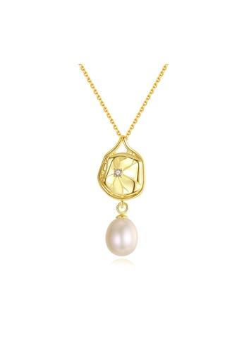 SUNRAIS gold Premium Color Stone Golden Leaf Necklace 9EED3AC8C2DE66GS_1