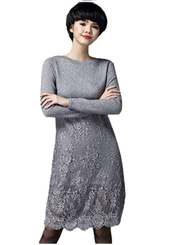 Sunnydaysweety grey Grey Knit and Lace One Piece Dress C20050891 60332AAA763ACEGS_1