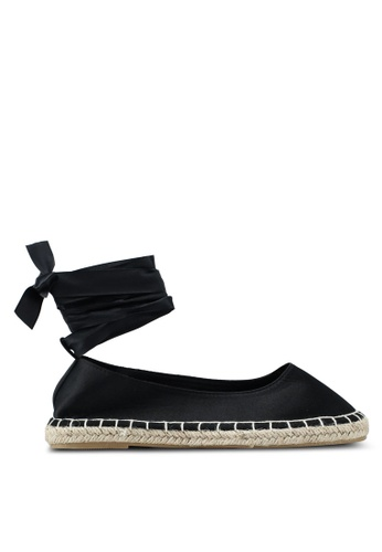 OVS black Satin Espadrilles With Bow 55D1BSH6658FDBGS_1