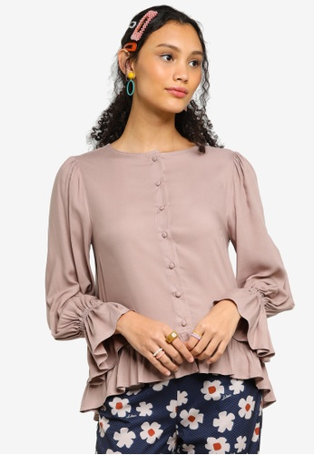 Lubna brown Ruffle Top Made From ECOVERO™ 8C3B7AA5FE6D49GS_1