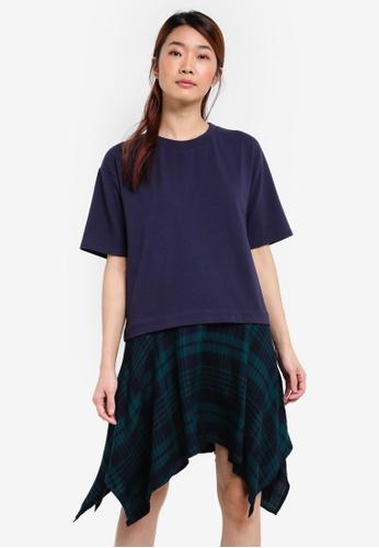 Something Borrowed navy Layered T-shirt Dress 91728AACFC474DGS_1