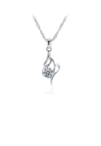 Glamorousky white 925 Sterling Silver Fashion Simple Cubic Zircon Pendant with Necklace 80DB5ACE12A0D7GS_1