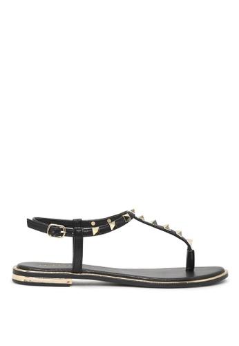 London Rag black London Rag Sasha Women's Black Flat T-strap Thong Sandals SH1571 72D3CSH18F03F7GS_1