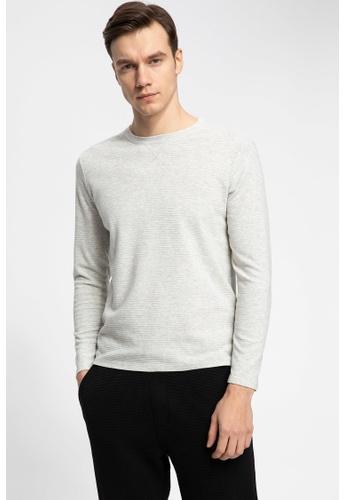 DeFacto 米褐色 Long Sleeve Round Neck Basic T-Shirt 7ECD4AA5C5FCABGS_1