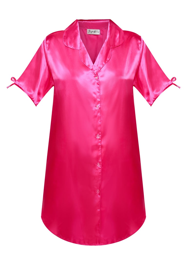 Pink Impression Satin Dress Shirt Pajama Fuschia Fwnxtqtuyx
