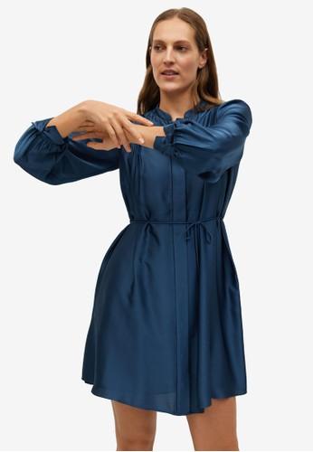 Mango blue Pleated Satin Dress 0FD4DAACAD9189GS_1