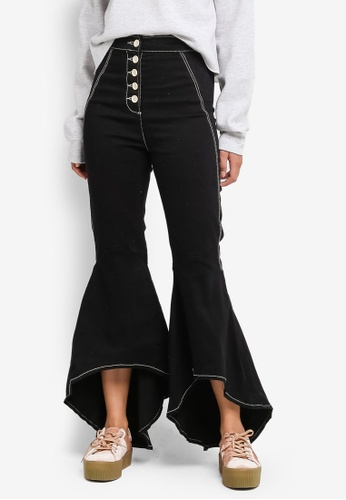 TOPSHOP black Stitch Detail Mermaid Trousers A3804AA4CB3F13GS_1