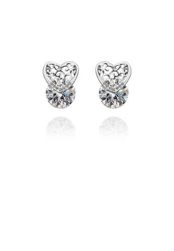 Glamorousky white Simple and Elegant Heart-shaped Round Cubic Zircon Stud Earrings B0A33AC91E7A71GS_1