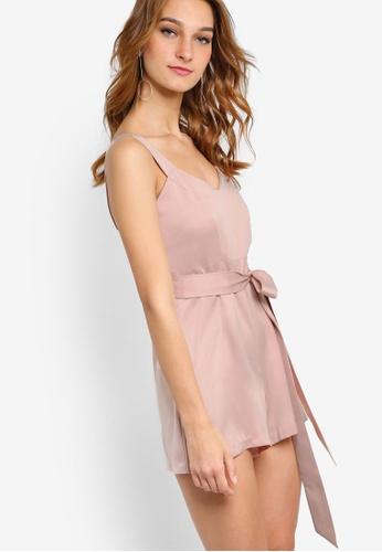 Miss Selfridge pink Petite Wrap Tie Playsuit MI665AA24NTZMY_1