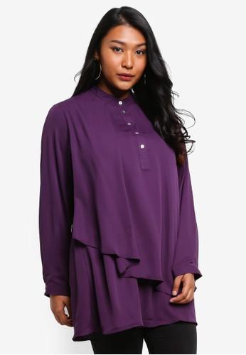 Ex'otico purple Plus Size Long Sleeve Overlap Long Blouse FE955AAB4F300BGS_1