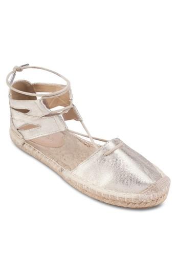 Katnesprit 兼職iss 側空繞踝麻編平底鞋, 女鞋, 鞋