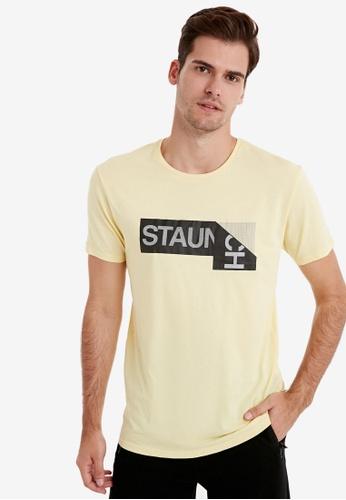 LC Waikiki yellow Crew Neck Printed Short Sleeve T-Shirt E5280AAD87E4B5GS_1